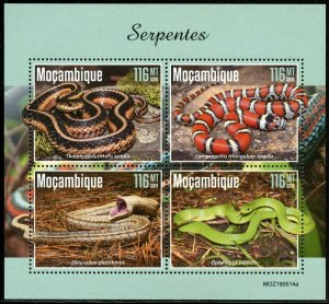 MOZAMBIQUE 2019 SNAKES SHEET MINT NEVER HINGED