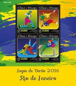 Sao Tome & Principe Summer Olympics Stamps 2016 MNH Rio 2016 Judo Rugby 4v M/S