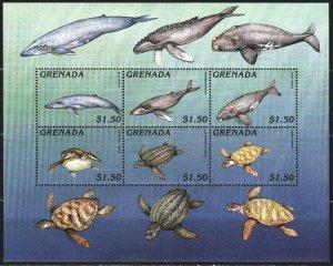Grenada. 1996. Small sheet 3305-11. Whales, sea turtles. MNH.