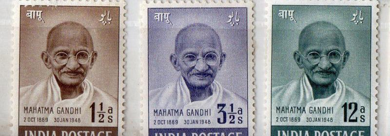 India 1948 Gandhi  SET UP T0 12 AS MM WHITE GUM LITTLE GUM FAULT