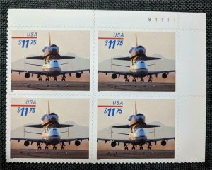 US Stamps #3262 Mint NH Plate Block of 4 Piggyback Space Shuttle Express Mail