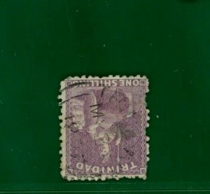 Trinidad 1863-80 1s mauve WMK INVERTED fine used FU* SG.73bw. A RARITY** GOLD30