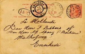 Saint Lucia 1d QV Postal Card 1901 Castries, St. Lucia to Enschede, Netherlan...
