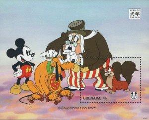 Grenada MNH S/S Disney's Mickey & Pluto Winners Society Dog Show