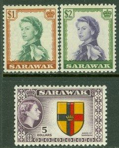 EDW1949SELL : SARAWAK 1955-57 Scott #209-11 Top Values. VF, Mint OG VLH. Cat $69