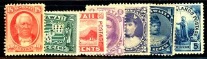 HAWAII #30,34,37,52,80-82 MINT SET MIXED CONDITION/FAULTS