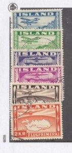 ICELAND # C15-C20 VF-LIGHT USED AIRMAILS CAT VALUE $88.50