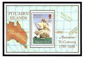 Pitcairn Is 297 MNH 1988 Australian Bicentenary (Ship) S/S          (KA)