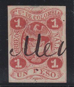 Colombia 1866 1p Rose Red Used. Scott 49