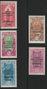 Ubangi-Shari, 1927, Scott #77-81, complete set, Mint, L.H./H., V.F.