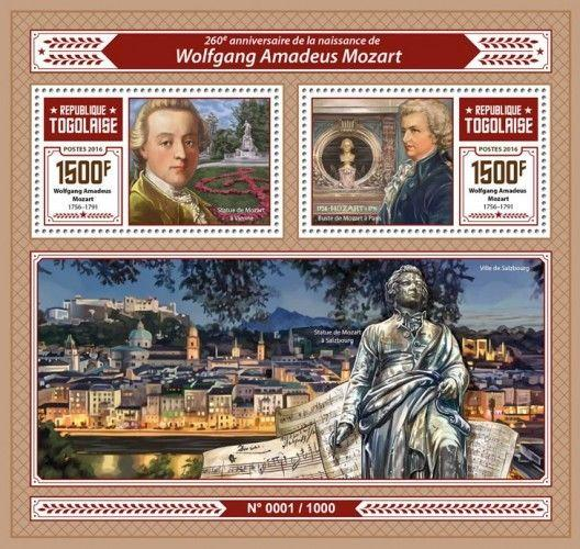 Wolfgang Amadeus Mozart Composers Classical Music Togo MNH stamp set