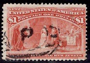 US Stamp Scott #241 $`1 Dollar Columbian USED SCV $525