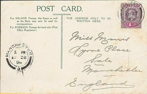 SIERRA LEONE 1906 postcard EVII 1d cancelled PAQUEBOT / PLYMOUTH cds........7640
