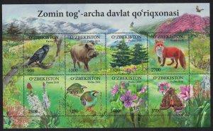 Uzbekistan Birds Boar Fox Moth Flowers Trees Zomin Natural Reserve Sheetlet