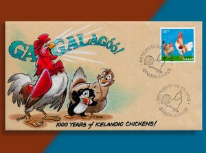GAGGALAGÓÓ!! That's What Iceland Chickens Say!! Handcolored Fowl FDC from 2003