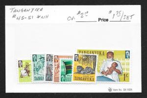TANGANYIKA Sc#45-51 Mint Never Hinged Complete Set