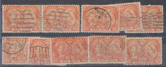 Canada Scott #51 used (10) 1897 1c Orange - F Avg. Cat. US$80.00