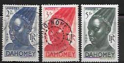 Set of 3 used stamps showing Dahomey Warriors