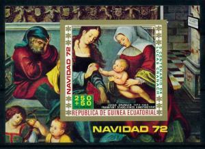 [99978] Equatorial Guinea 1972 Christmas Painting Madonna Imperf. Sheet MNH