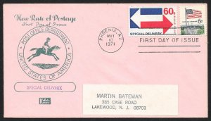 UNITED STATES FDC 60¢ Special Delivery 1971 Kolor Kover