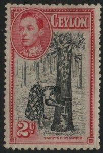 CEYLON-1938 2c Black & Carmine Perf 11½ x 13 Sg 386 light gum toning MM V40470