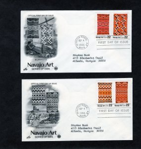 2235-38 Navajo Art, FDC set/4 stamps on 2 covers, ArtCraft/PCS addressed