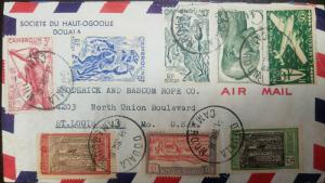 A) 1946 CAMEROUN, CROSS OF LORRAINE & FOUR MOTOR PLANE CD87, C1-C7, AIRMAIL, PEO