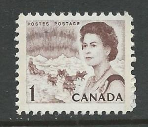 Canada # 454   QE II Centennial issue - 1c  Dog Sled  (1) Mint NH