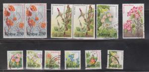 KENYA Scott # Between 247 - 257 Used - Flowers On Stamps