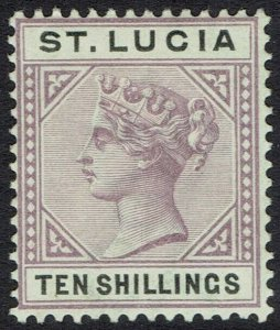ST LUCIA 1891 QV KEY TYPE 10/-