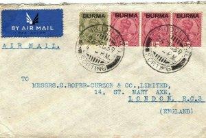 BURMA Cover Rangoon GPO Sorting Air Mail GB London 1939{samwells-covers}LS85