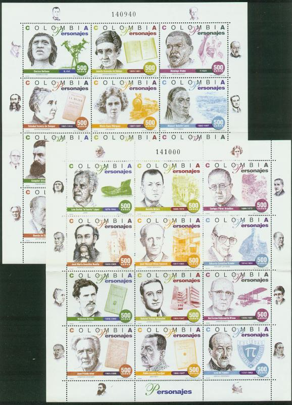 COLOMBIA C899-C900. PERSONALITIES - TWO SHEETS OF 12ea MINT, NH. F-VF. (545)
