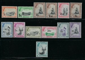 SWAZILAND SCOTT #67-79 1961 NEW VALUES SURCHARGES - MINT NEVER  HINGED