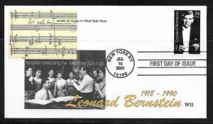 United States 3521 Leonard Bernstein Westside Story WII Cachet FDC (LB4)