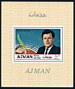 Ajman Michel Blocks 122A-124A, MNH, The Kennedy Brothers souvenir sheets