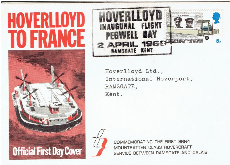 1st DAY COVER - *HOVERLLOYD* FROM RAMSGATE TO CALAISE , APR 2, 1969, SPEC CANCEL