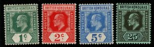 BRITISH HONDURAS SG95/100 1908-11 COLOURS CHANGED SET MTD MINT