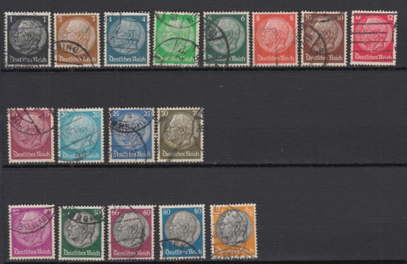 Germany - 1933 Hindenburg - complete set (Wmk.Swastika) (9167)