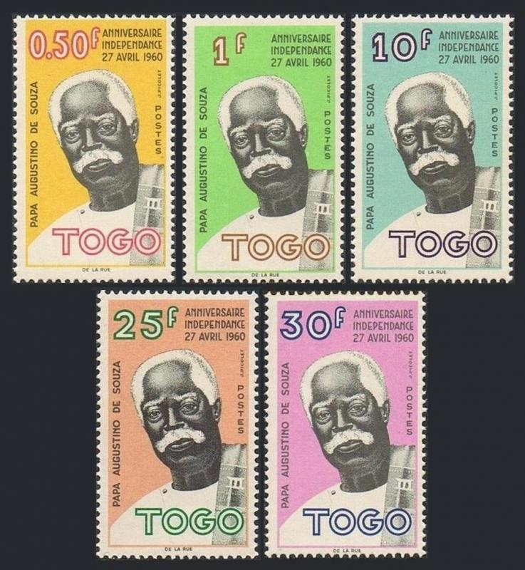 Togo 396-400,hinged.Mi 308-312. Augustino de Souza,leader of independence,1961.