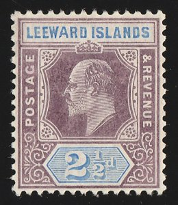 LEEWARD ISLANDS 1905 KEVII 2½d, VARIETY 'wide A in Leeward'. RARE!