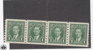 CANADA (MK1548) # 238  VF-2MNH/2LH  1cts  KGVI COIL STRIP OF 4 / GRN CAT VAL $20