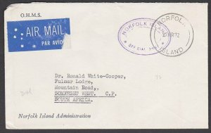 NORFOLK IS 1972 Official cover to South Africa..............................M639