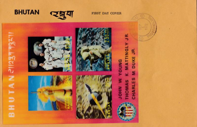Bhutan 1972  Apollo 11 Moon Program SPACE Sheet 3-D Process  VF First Day Cover