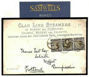India ADVERT Cover 1886 *CLAN LINE STEAMERS* Maritime Scotland {samwells}MS4321