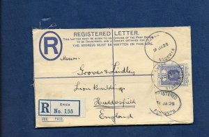 NIGERIA 1925 REGISTERED LETTER FROM KWALE TO HUDDERSFIELD