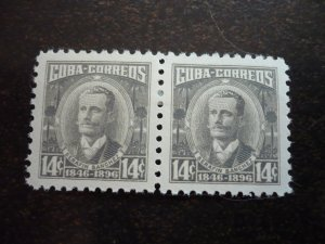 Stamps - Cuba -Scott# 521a, 525a - Mint Hinged Partial Set of 2 Stamps in Pairs