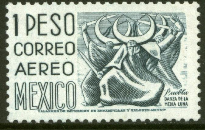 MEXICO C220G, $1.00 1950 Def 8th Issue Fosforescent glazed MINT, NH. VF.