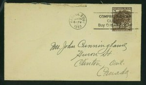 Cuba 1933 Cover Havana to Ontario franked Scott 312 with Slogan Postmark