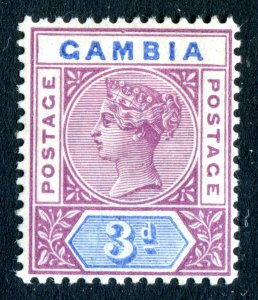 Gambia 1898 QV. 3d reddish purple & blue. Mint. LH. SG41.