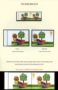 SG2263Var 2002 Teddy Bear ERROR Value and Queens missing and at Left U/M Pair